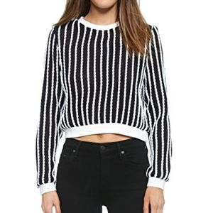 NWOT English Factory Rope Sweater S Crop Navy